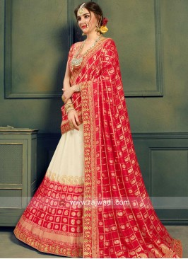 Bridal Brocade Weaved Shaded Lehenga