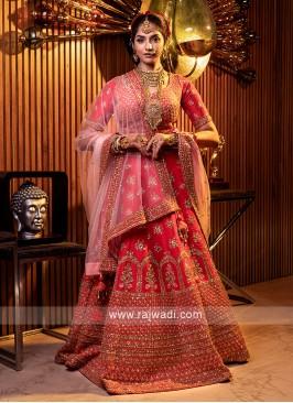 Coral Pink Silk Bridal Lehenga Choli
