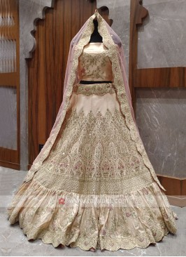 Bridal cream colour lehenga choli