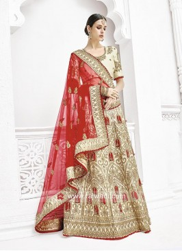 Bridal Cream Embroidered Lehenga Saree