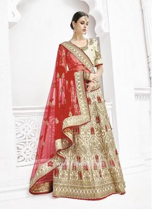 Bridal Cream Embroidered Lehenga Saree
