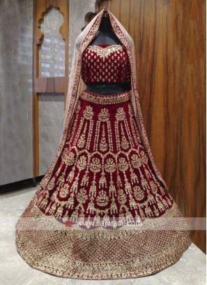 Bridal dark maroon colour lehenga choli