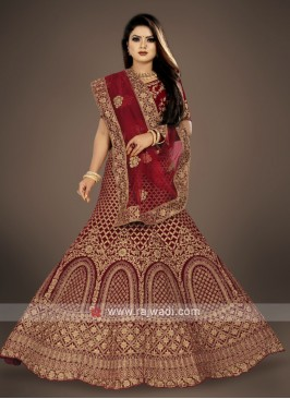 bridal dark maroon Lehenga Choli