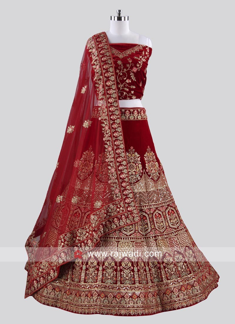 Bridal Dark Red Velvet Lehenga Choli