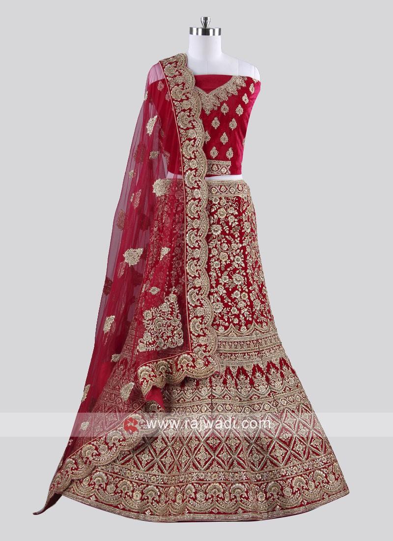 Bridal Designer Velvet Dark Rani Lehenga Choli