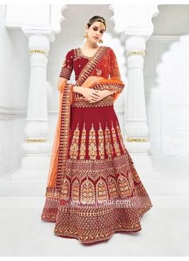 Bridal Designer Velvet Maroon Lehenga Choli