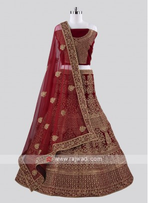 Bridal Embroidered Lehenga Choli in Dark Maroon