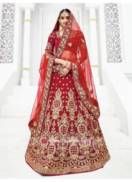 Bridal Embroidered Lehenga Choli in Maroon
