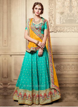 Bridal Embroidered Lehenga Saree with Blouse