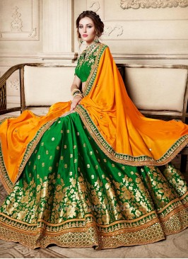 Bridal Embroidered Lehenga Saree with Designer Border