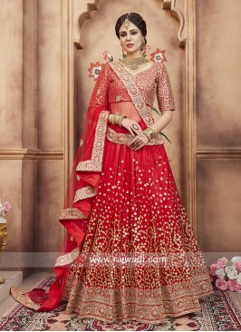 Bridal Heavy Embroidered Lehenga Set in Red