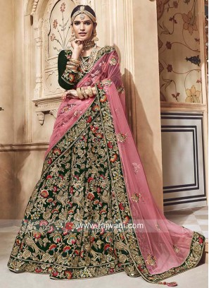 Bridal Heavy Lehenga Set in Bottle Green