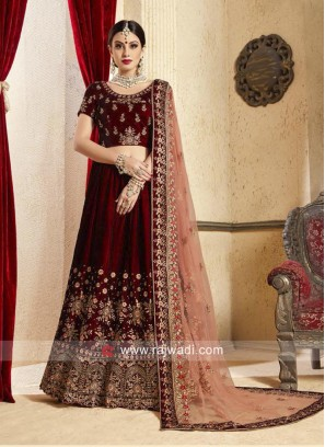 Bridal Heavy Velvet Lehenga in Maroon
