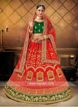 Bridal Lehenga Choli In Red & green Color