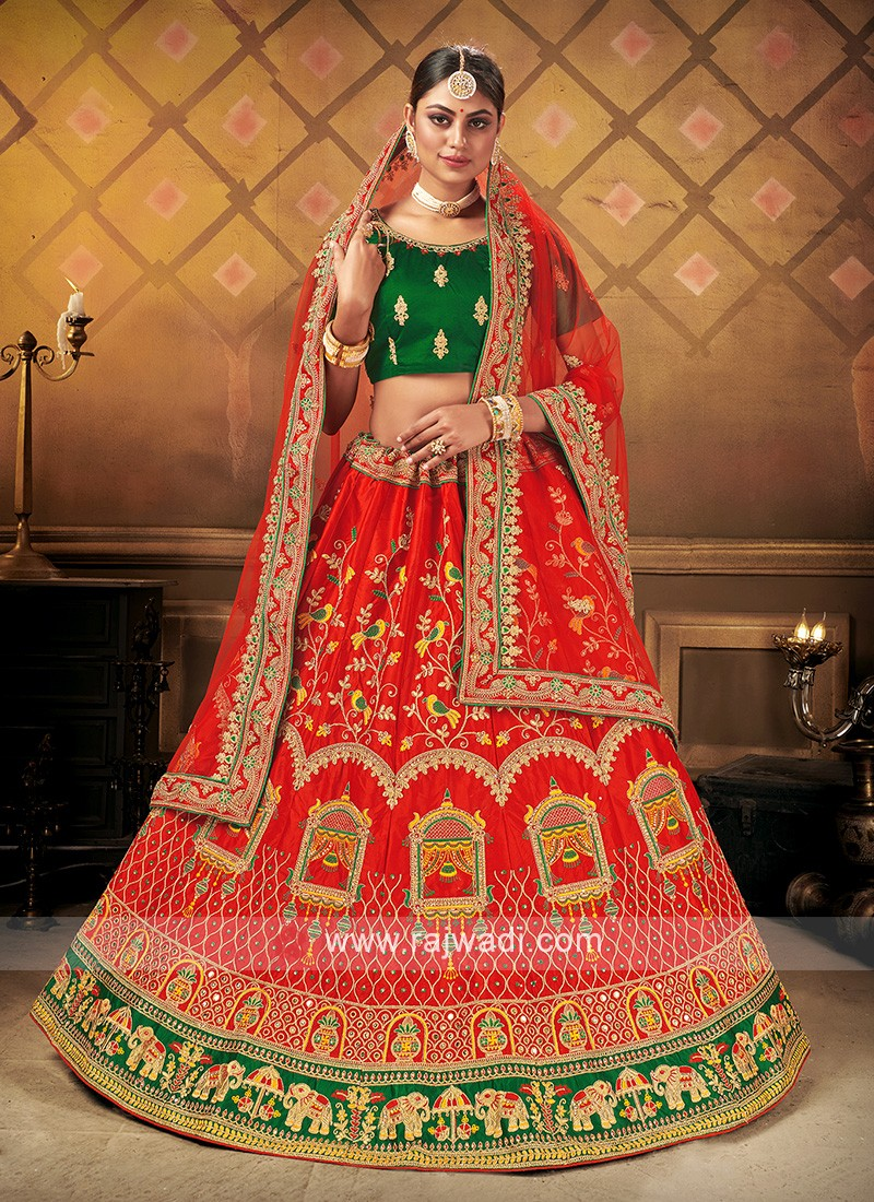 Bridal Lehenga Choli In Red & green Color