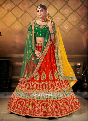 Bridal Lehenga Choli With 2 Dupattas