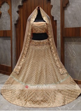 Bridal peach colour lehenga choli