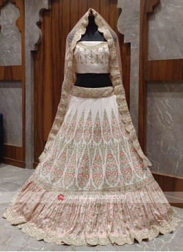 Bridal light peach colour lehenga choli