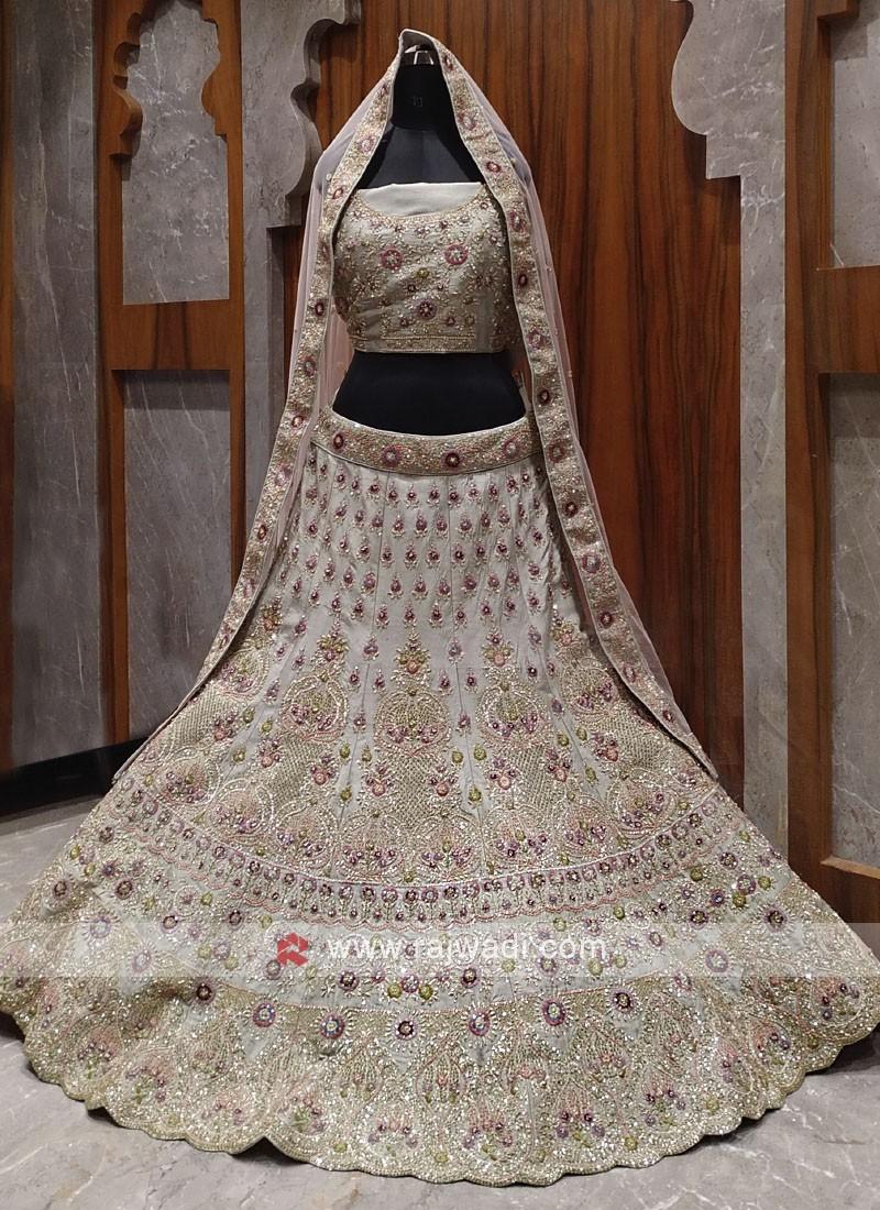 Bridal grey colour lehenga choli