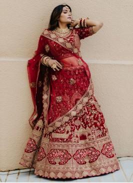 Bridal Maroon Embellished Lehenga Choli