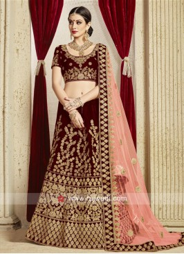 Bridal Maroon Lehenga Set with Light Peach Dupatta
