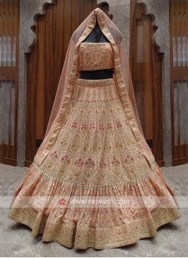 bridal Peach color lehenga choli