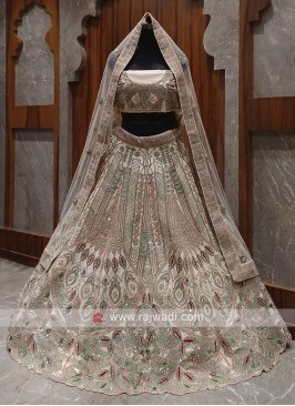 Bridal peach colour lehenga choli