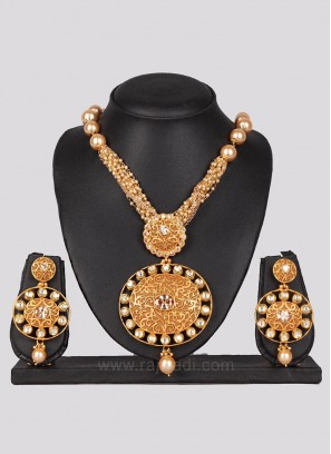 Bridal Pearl Golden Necklace Set with Earrings