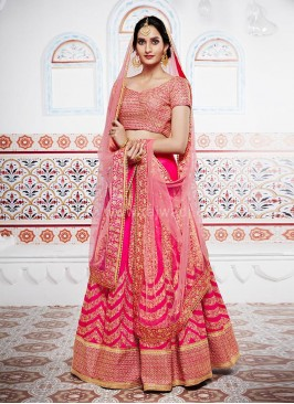 Bridal Pink Tone Lehenga Saree with Designer Border