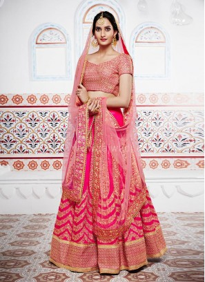 Bridal Pink Tone Lehenga Saree with Designer Border