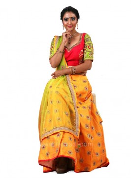 Bridal Raw Silk Choli Suit with Net Dupatta
