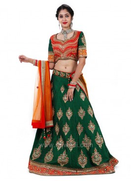 Bridal Raw Silk Embroidered Choli Suit