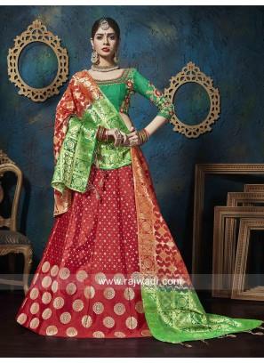 Bridal Red and Green Lehenga Choli