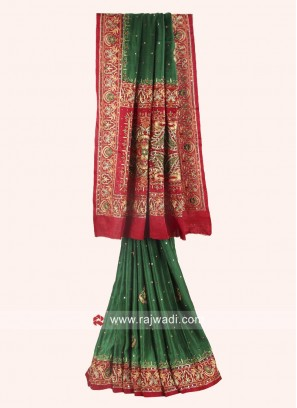 Bridal Red and Green Panetar Saree