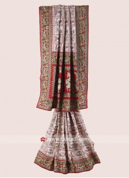 Bridal Red and White Gharchola Saree