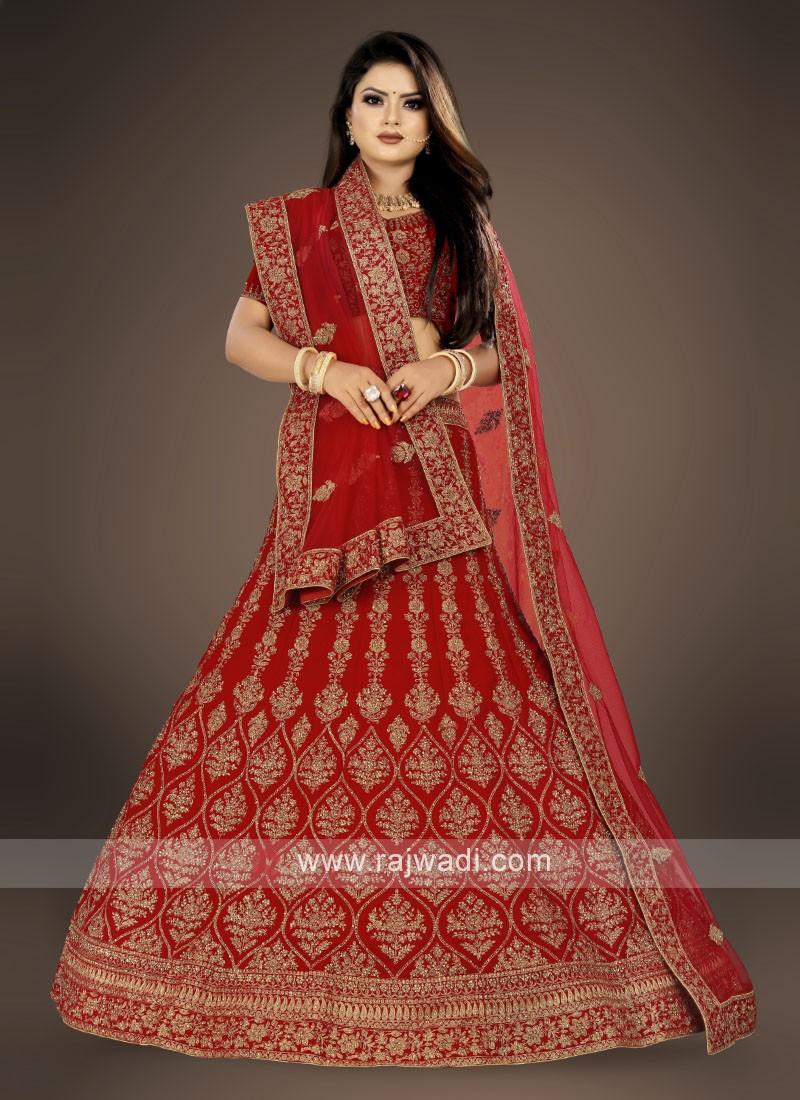 bridal red color Lehenga Choli