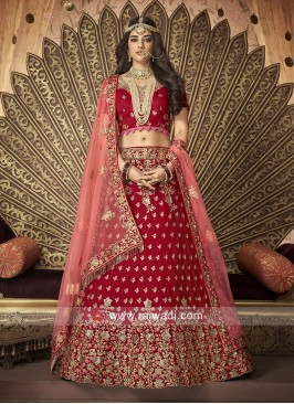 Bridal Heavy Lehenga Choli in Red