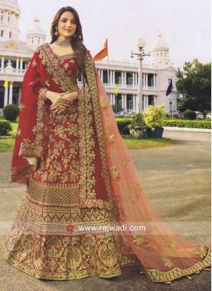 Bridal Red Heavy Work Lehenga Choli