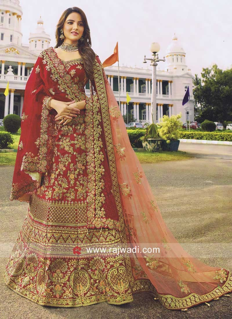 Bridal Red Heavy Work Lehenga Choli