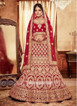 Bridal Red Lehenga Choli with Dupatta