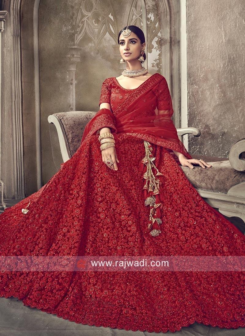 Bridal Red Net Lehenga Choli with Dupatta