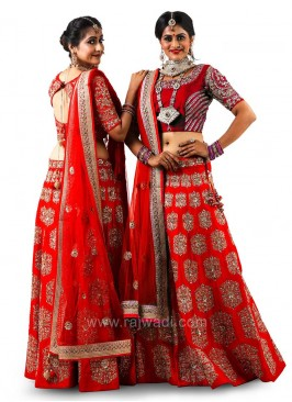 Bridal Red Raw Silk Choli Suit