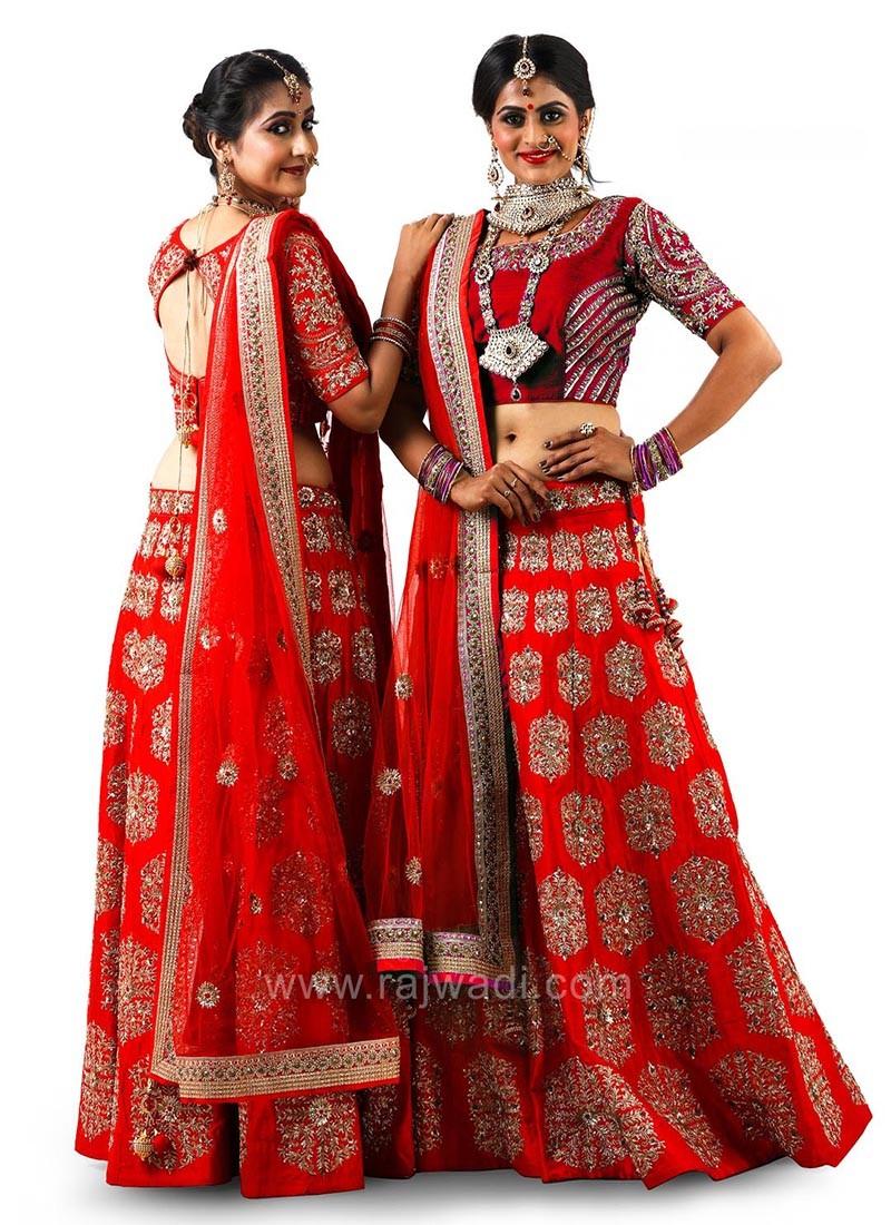 Bridal Red Raw Silk Choli Suit