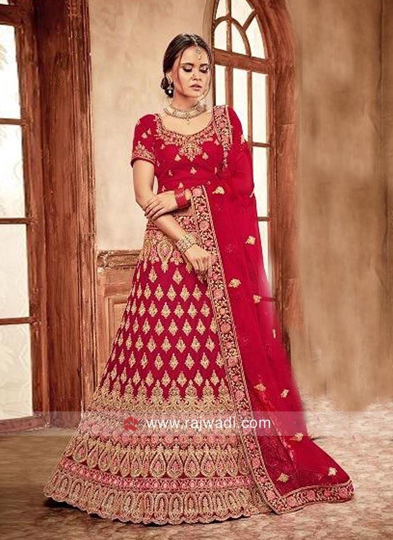 26c8d69f40 Bridal Red Velvet Lehenga Choli. Hover to zoom
