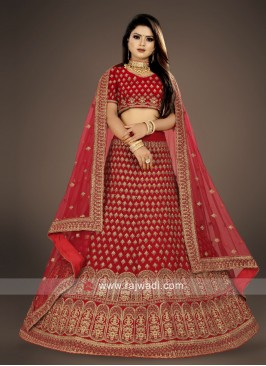 bridal red velvet Lehenga Choli