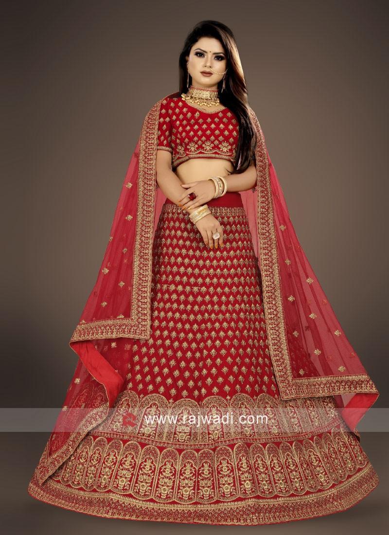 bridal red velvet Lehenga Choli