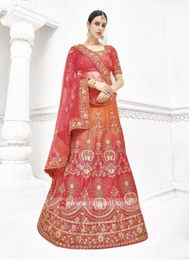 Bridal Shaded Lehenga Saree with Cut Work