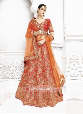 Bridal Silk and Net Embroidered Lehenga Saree