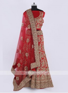 Bridal Silk Lehenga Choli In Red Color