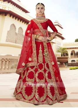 Bridal Silk Lehenga in Red
